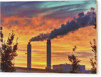 Sunset Industry Wood Print by Nadia Sanowar