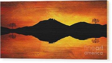 Wood Print featuring the digital art Sunset Island by Ian Mitchell