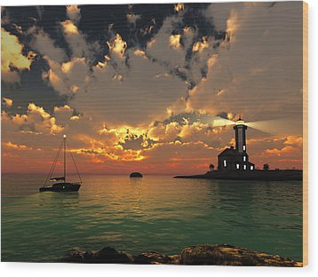 Sunset Lighthouse Wood Print by Jim Coe