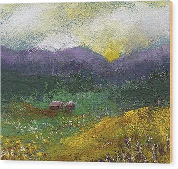 Sunset Meadow Wood Print by David Patterson