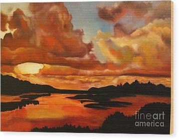 Sunset Wood Print by Michael Kulick