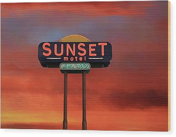Wood Print featuring the photograph Sunset Motel by Donna Kennedy