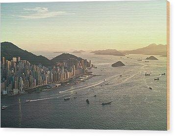 Sunset Of Hong Kong Victoria Harbor Wood Print by Jimmy LL Tsang