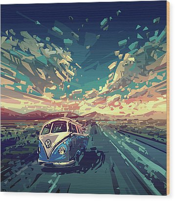 Sunset Oh The Road Wood Print by Bekim Art