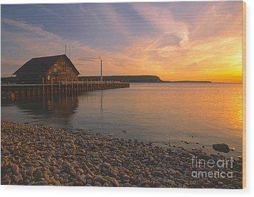 Sunset On Anderson's Dock - Door County Wood Print