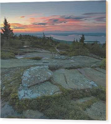 Wood Print featuring the photograph Sunset On Cadillac Mountain by Stephen  Vecchiotti