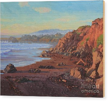 Sunset On Cambria Ca Wood Print by Gary Kim