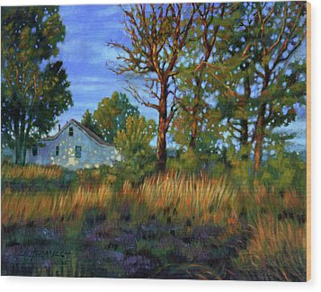 Sunset On Country Home Wood Print by John Lautermilch