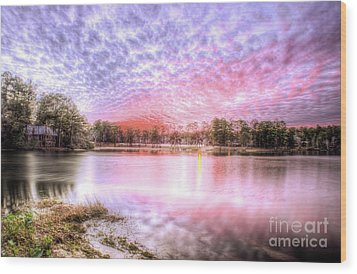Sunset On Flint Creek Wood Print