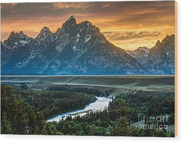Sunset On Grand Teton And Snake River Wood Print by Gary Whitton