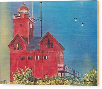 Sunset On Holland Light Wood Print