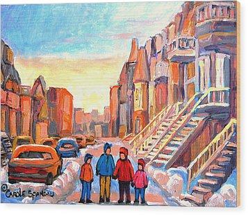 Sunset On Hotel De Ville Street Montreal Wood Print by Carole Spandau