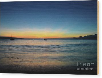 Wood Print featuring the photograph Sunset On Ka'anapali Beach by Kelly Wade