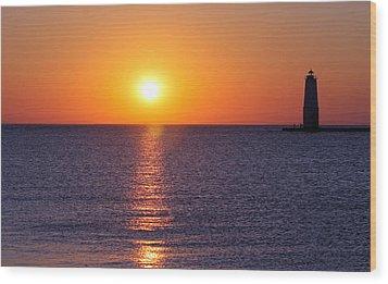 Sunset On Lake Michigan Wood Print by Bruce Patrick Smith