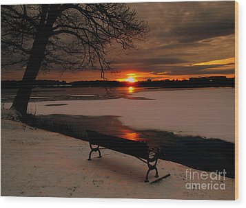 Sunset On Lake Quanapowitt Wood Print