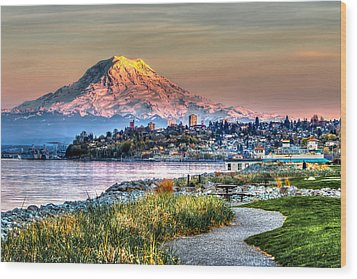 Sunset On Mt Rainier And Point Ruston Wood Print
