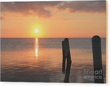 Wood Print featuring the photograph Sunset On Pimlico Sound by Laurinda Bowling