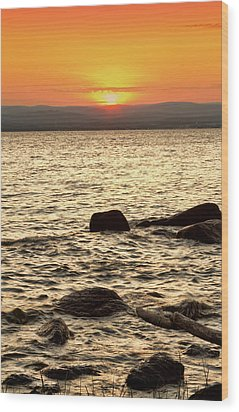 Sunset On The Beach Wood Print by Alexander Mendoza