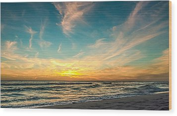 Sunset On The Beach Wood Print by Phillip Burrow