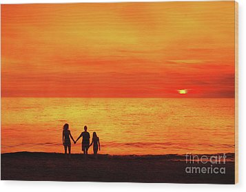 Wood Print featuring the digital art Sunset On The Beach by Randy Steele