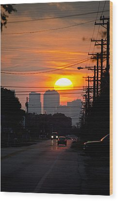 Sunset On The City Wood Print