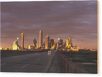 Sunset On The Dallas Skyline Seen Wood Print by Richard Nowitz
