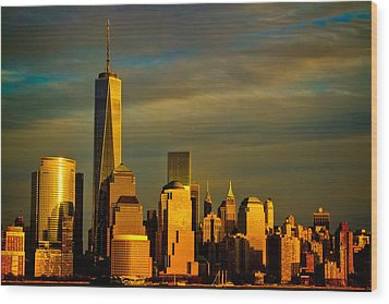 Sunset On The Financial District Wood Print