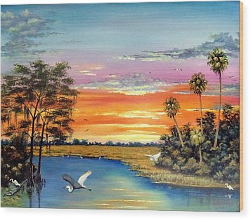 Sunset On The Glades Wood Print by Riley Geddings