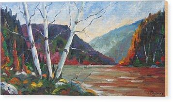 Sunset On The Lake Wood Print by Richard T Pranke