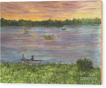 Sunset On The Merrimac River Wood Print