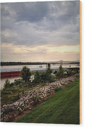 Sunset On The Mississippi Wood Print by Jen McKnight