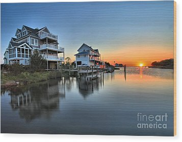 Sunset On The Obx Sound Wood Print by Adam Jewell