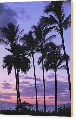 Sunset On The Palms Wood Print by Debbie Karnes