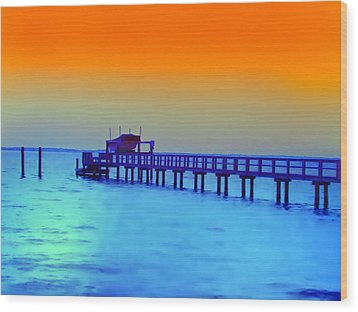 Sunset On The Pier Wood Print by Bill Cannon