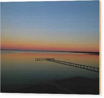 Sunset On The Pier Wood Print