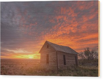 Wood Print featuring the photograph Sunset On The Prairie  by Darren White