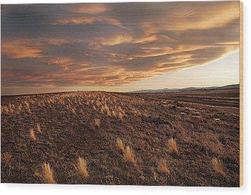 Sunset On The Ridge Wood Print