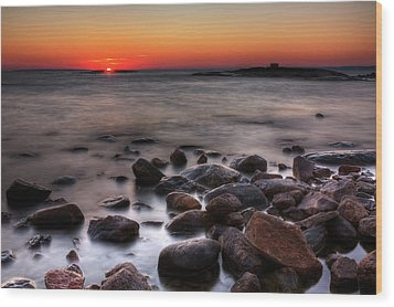 Sunset On The Rocks Wood Print by Brian Boudreau