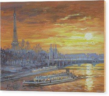 Sunset On The Seine, Paris Wood Print