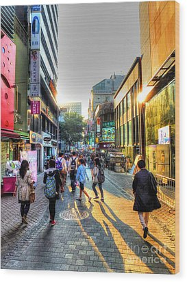 Sunset On The Streets Of Seoul Wood Print by Michael Garyet