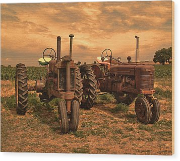 Sunset On The Tractors Wood Print by Ken Smith