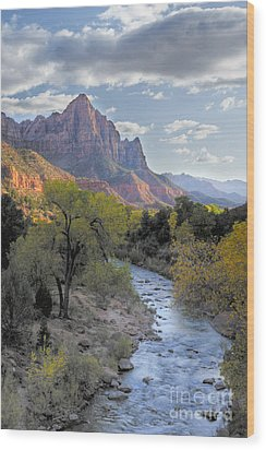 Sunset On The Watchman Wood Print by Sandra Bronstein