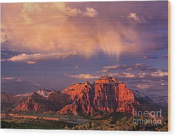 Sunset On West Temple Zion National Park Wood Print