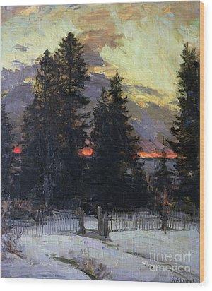 Sunset Over A Winter Landscape Wood Print by Abram Efimovich Arkhipov