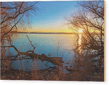 Sunset Over Barr Lake Wood Print by Tom Potter
