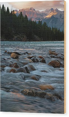 Wood Print featuring the photograph Sunset Over Bow River In Banff National Park by Dave Dilli