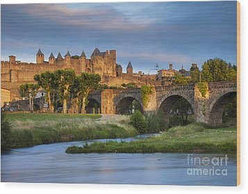 Sunset Over Carcassonne Wood Print by Brian Jannsen