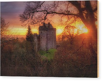 Wood Print featuring the photograph Sunset Over Castle Campbell In Scotland by Jeremy Lavender Photography