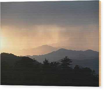 Sunset Over Chakrata Hills - 2 Wood Print by Padamvir Singh