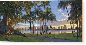 Sunset Over Downtown West Palm Beach From Palm Beach Island Wood Print by Justin Kelefas